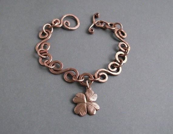 Shamrock charm bracelet, copper bracelet, St. Patrick's Day jewelry, charm bracelet handmade, lucky clover bracelet,  copper jewelry