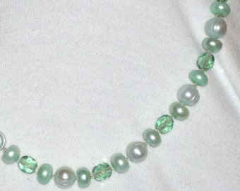 Pale Green  Artisan Spring Necklace