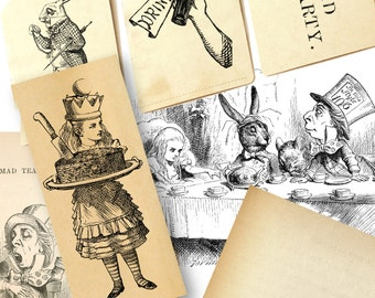 11x Mad Hatters Tea Party Alice in Wonderland set.  Illustrations Instant Digital Download.