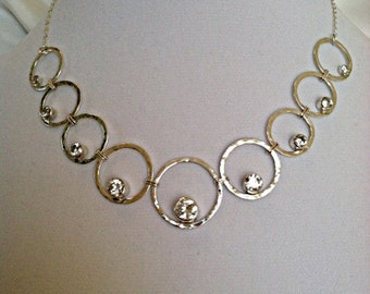 Sterling Silver Necklace with multiple CZ's - gemstone - Valentine