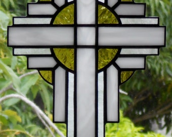 Stained Glass Cross Suncatcher, White #112
