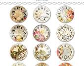 "Digital vintage safari travel clocks watch faces collage sheet  / 2"" diameter circles / downloadable / printable / altered art"