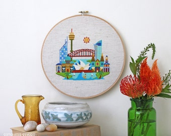 Pretty Little Sydney - Satsuma Street Modern Cross stitch pattern PDF - Instant download