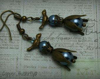 Bouffon Bird & Tulip Victorian Inspired Antique Bronze Bird and Tulip Flower Cap with Bouffon Blue Glass Pearls - Earrings - 6130029