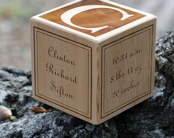 3 inch Classic Wood Baby Block WITH BORDER, New baby gift cedar wood personalized block