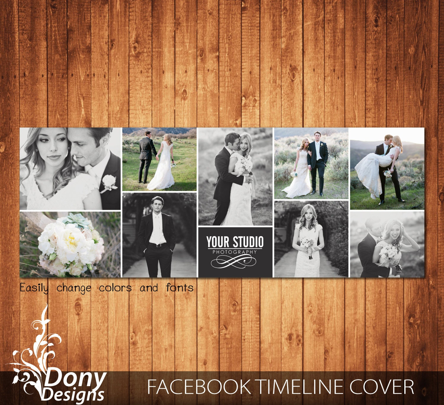 Facebook Cover Collage ~ Wedding facebook timeline cover template photo collage