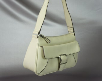 Liz Clairborne bag, off white purse, 70's shoulder bag, LIZ bag,  vintage purse.