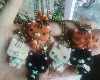 necklace Cat country kawaii cute clay kitten chat gato Katze neko OOAK