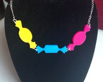 SALE Three sweeties necklace boiled wrapped sweets CKMY laser cut perspex acrylic