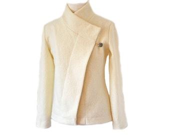 Women Bridal Boiled Wool Jacket Creme Wedding Size XS till XL