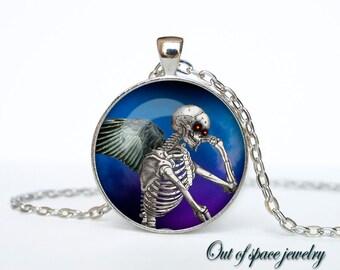 Halloween skull necklace Halloween pendant Halloween jewelry Gothic Vintage Vintage Pendant