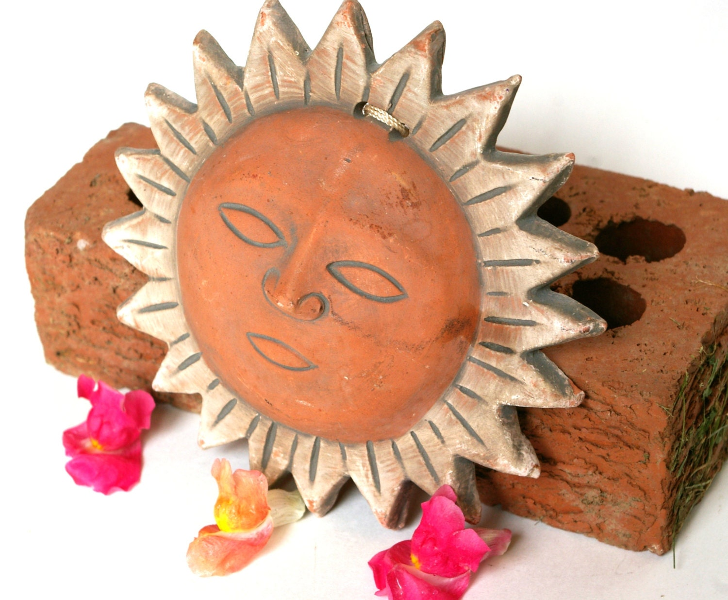 Vintage Sun Face Wall Hanging Terracotta Mexican Clay Pottery