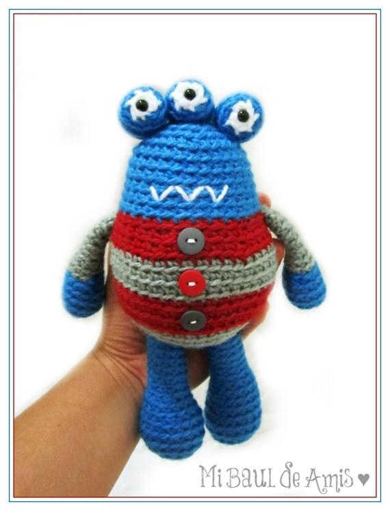 Amigurumi De Alien : Crochet Amigurumi Alien Monstruo de Tres Ojos Muneco Nino