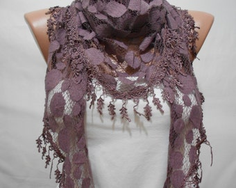 Maroon Scarf Shawl, Cowl Scarf with Lace Edge, Women Scarf, Women Fashion Accessory, Scarves, Gift, For Her, For Mom, ScarfClub