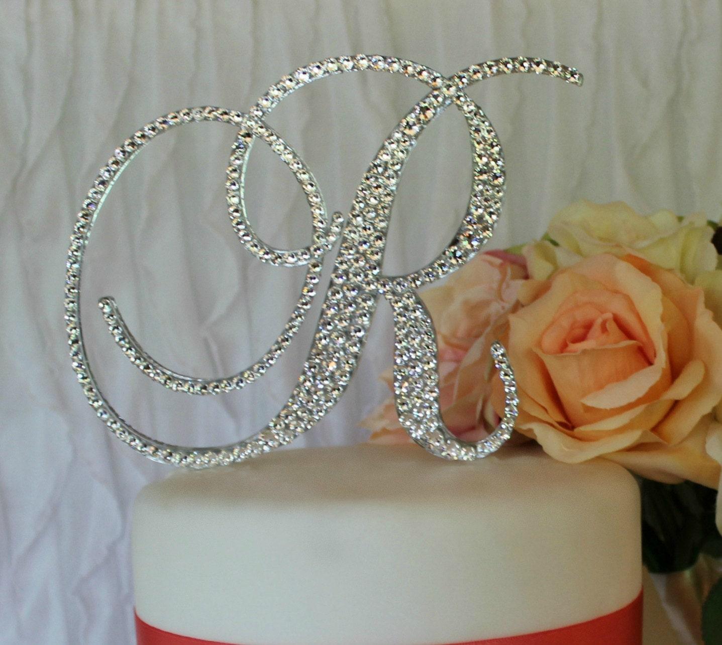 5 Monogram Wedding Cake Topper with Swarovski Crystals