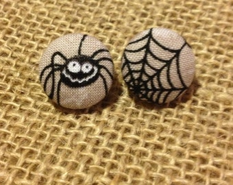 Spider in the Web Button Earring
