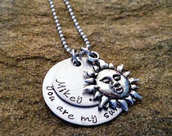 Personalized You Are My Sunshine Necklace with Children's Names - Name Necklace - Birthday  Gift for Mom - Valentine's Gift - Mommy Jewelry