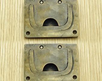 "2.83"" Inches Vintage Flush Lift Handle Solid Brass Antique Cabinet Drawer Door KNOB Pulls H033"