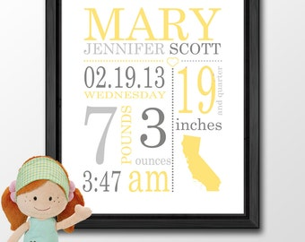 personalized Baby Nursery Wall Art PRINT/CANVAS/DIGITAL, birth announcement, Birth Stats art, baby room decor, personalized baby gifts