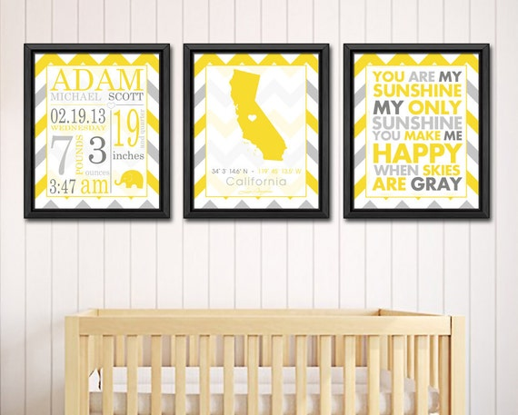 Baby Nursery Wall Art Baby Announcement Gift Baby Boy By PinkeeArt