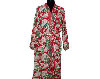 COTTON DRESSING GOWN - Block printed - Red and Beige Pattern