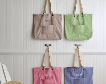 Stone Washed Tote - Personalized Embroidered Tote Bag - GC793