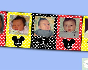 Mickey Mouse First Year Photo Banner / 12 Month Picture Banner / Mickey Mouse First Birthday Party INSTANT DOWNLOAD