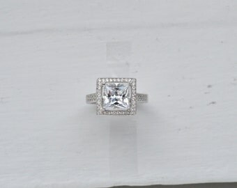 2.5ct Princess Cut Engagement Ring - Prong Set Engagement Ring - Cubic Zirconia Promise Ring - Silver Promise Ring - Micro Pave Halo