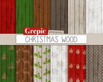 "Christmas digital paper: ""CHRISTMAS WOOD"" backgrounds with rustic christmas backgrounds, wood grain christmas, grungy x-mas, shabby paper"