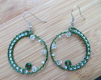 Green hoop earrings with white beads and clear swarovski beads