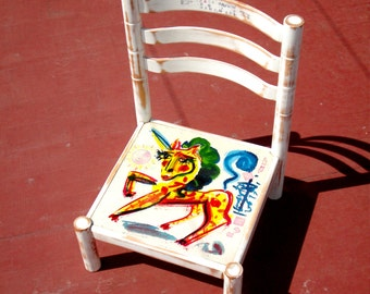 Chair Created by Jack Babiloni / Jack Babiloni's Unicorn Chair OOAK Conversation Piece Eco Friendly