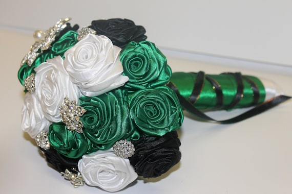 SALE Emerald Green, Black, & White Brooch Bouquet, Emerald Green Bouquet, Black Bouquet, Brooch Bouquet