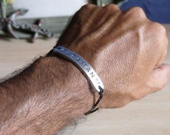 Personalized Simple Bracelet - Aluminum Custom Hand Stamped Bracelet - Best Gift for Man