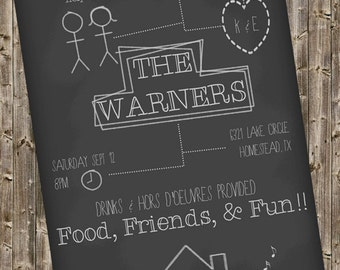 Housewarming Invitation -Chalkboard style