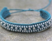 Teal friendship bracelet with clear crystal beads and white pearly seed beads COOL TEAL