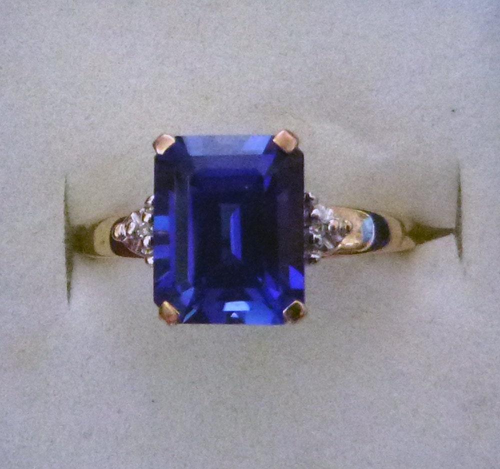 Colbalt Blue Emerald Cut Sapphire 10k Yellow Gold Ring Size 7