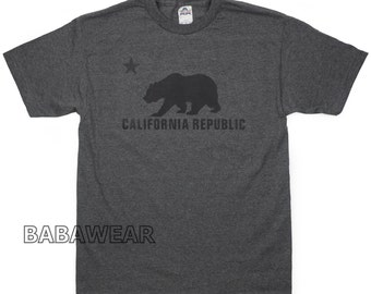 California Republic Bear T-Shirt Charcoal Cali Black