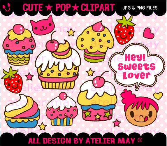 Cupcake Clipart Cute Super Cute Kawaii Cupcakes