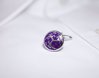 Purple and Silver 'Curls' Cufflinks