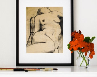 "Charcoal Figure Drawing, Giclee Print, Female Nude, Sexy, Vintage, Distressed Art, Life Drawing, Black and White,  8"" X 10"" - ""Sinuous Pose"""