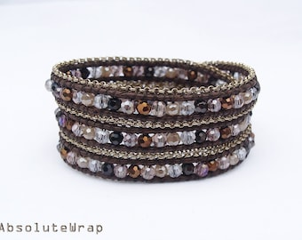 Crystal wrap bracelet with chain triming on brown polyester cord, triple wrap bracelet, white, black, brown