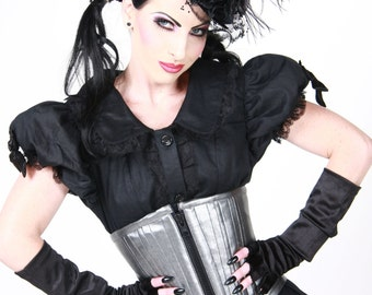 DAWN PLEATHER Gun Metal Gray Corset
