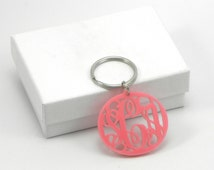 Pink Monogram Keychain - Acrylic