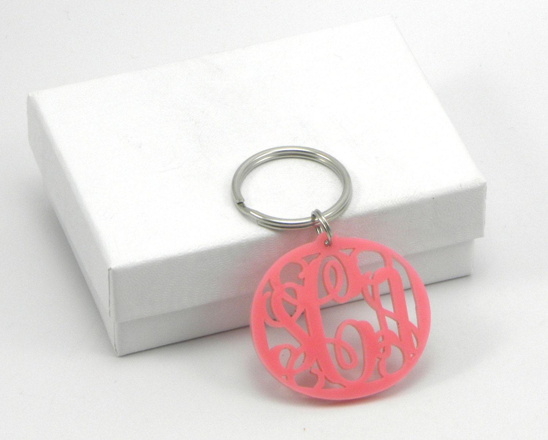 acrylic monogram keychain pink