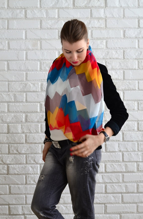 Chevron Scarf - Colorful Chevron Scarf, Spring Shiffon Scarf, Bright Scarf - Spring Accessory