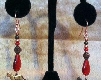 Red cat earrings.