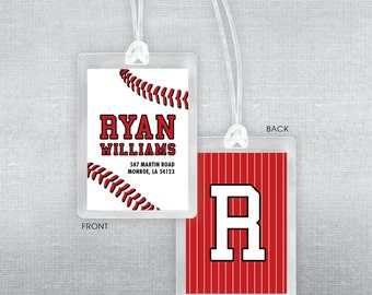 Baseball bag tag. Baseball luggage tag.