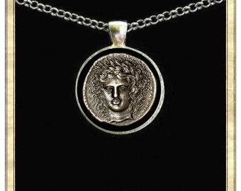 Apollo Coin Image - Handmade pendant bezel with glass tile, Antique Bronze or Silver