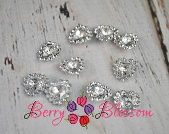 25 pc Heart Shaped Rhinestone Gem - 11mm - round heart shaped gems - small heart rhinestone