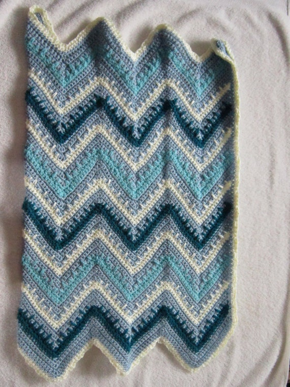 Crochet Zig Zag Baby Blanket : Zig Zag Crocheted Baby Blanket, Newborn, Toddler, Child, Blue ...